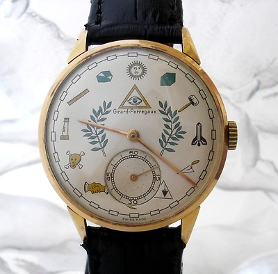 1950 s ECCENTRIC GIRARD PERREGAUX MASONIC DIAL 18K ROSE GOLD MEN S WATCH eBay