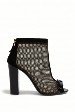 Moschino Cheap Chic Suede Mesh Open Toe Boots By Moschino Cheap Chic