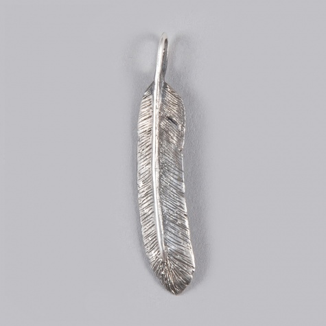 Dog State Feather Pendant Small Silver