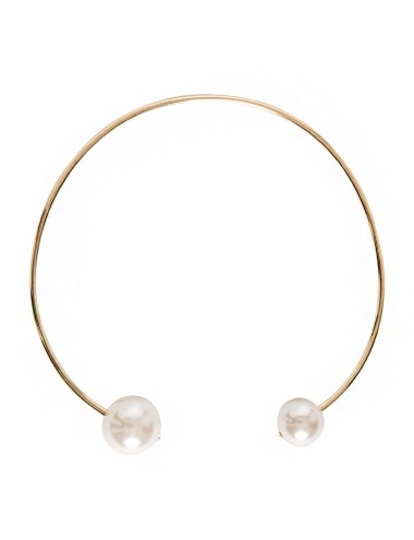 Double Pearl Ball Choker Necklace Gold Choker 16