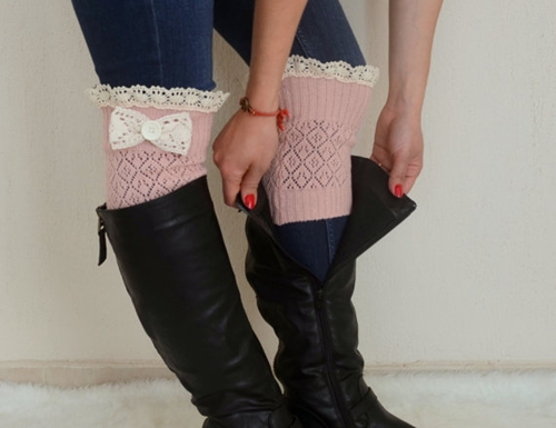 Pale Pink Bow Lace Boot Cuffs Boho Boot Socks Lace Cuffs By Bstyle