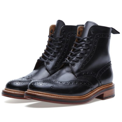 Grenson Fred Brogue Derby Boot Black