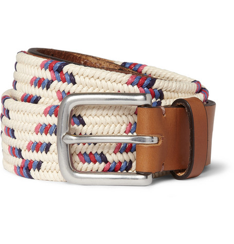 Folk Buckley Leather Trimmed Woven Belt MR PORTER