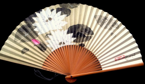 Japanese Hand Fan Lotus Flower In White Pink By Vintagefromjapan