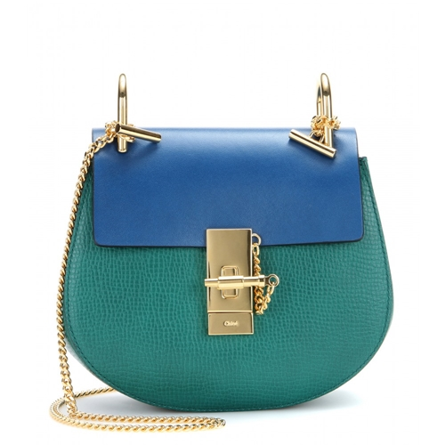 Chloe Drew Small Leather Shoulder Bag Stone Green | Nuji