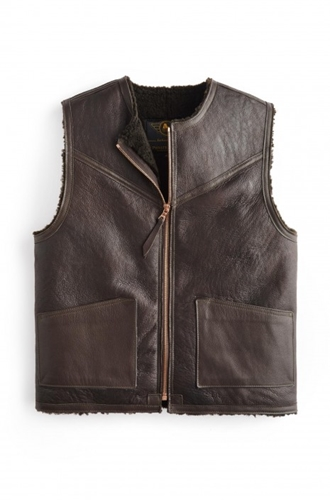 Private White V.C. X Alexander Leathers C 3 Shearling Leather Waistcoat