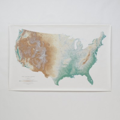 Topographic USA Wall Map Office Home Office