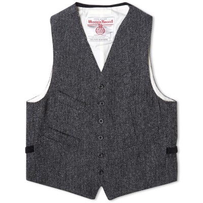 Beams Plus Harris Tweed Vest Grey Herringbone