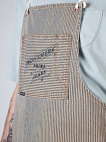 Indigofera Prima Men s Denim Apron in root hickory stripe at oki ni