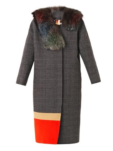 Fur Trimmed Prince Of Wales Check Coat Msgm Matchesfashion...