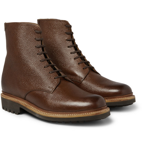Grenson Hadley Pebble Grain Leather Boots MR PORTER