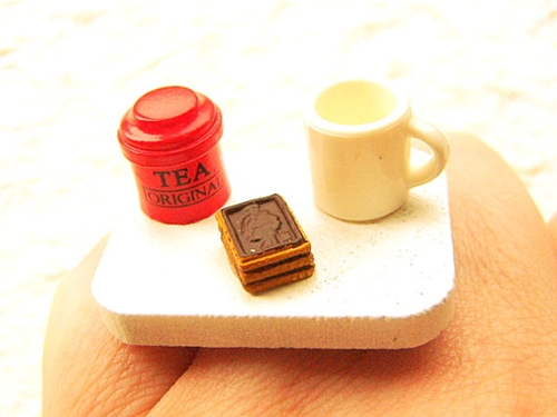 Tea Ring Miniature Food Jewelry Tea Chocolate by SouZouCreations