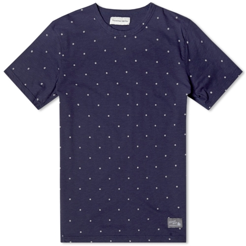 Universal Works Printed Dot Tee Navy