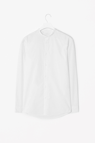Collarless Poplin Shirt