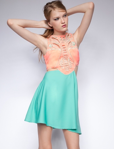 Coral Cutout Skater Dress Cutout Party Dress 60