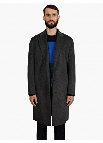 Acne Men's Grey Wool Cashmere Oversized Charles Coat Oki Ni