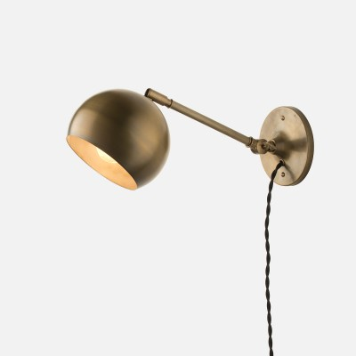 Isaac Plug In Sconce Brass Long Arm