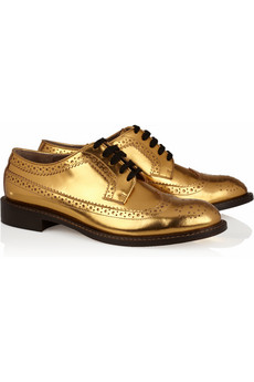 Marni Metallic leather brogues NET A PORTER COM
