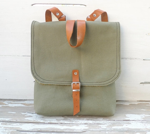 Green Waxed Canvas Mini Backpack for Kids and Adults von ottobags
