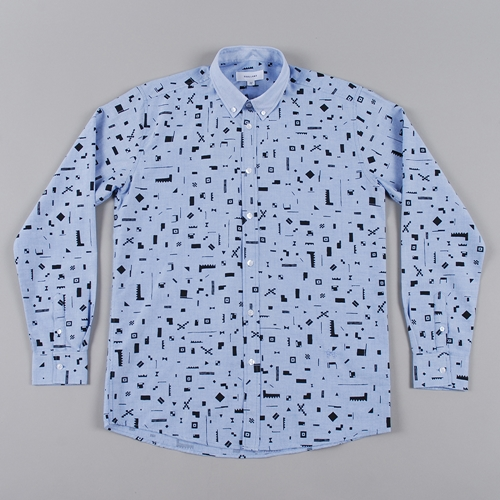 Soulland Geometri Shirt W.All Over Print Blue