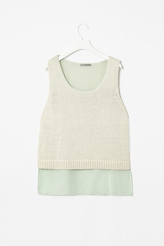 Chiffon layer knit top