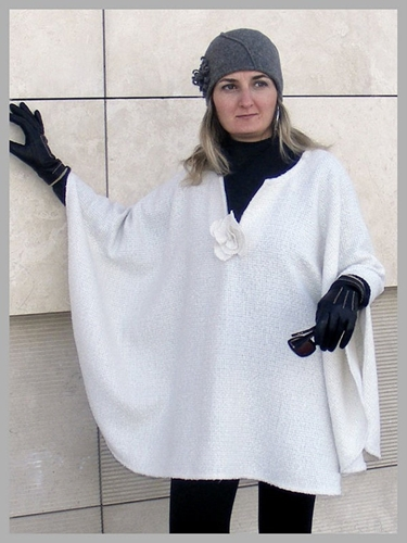 White Women Cape Ponchos Shawl Wool Fabric Winter By Senoaccessory