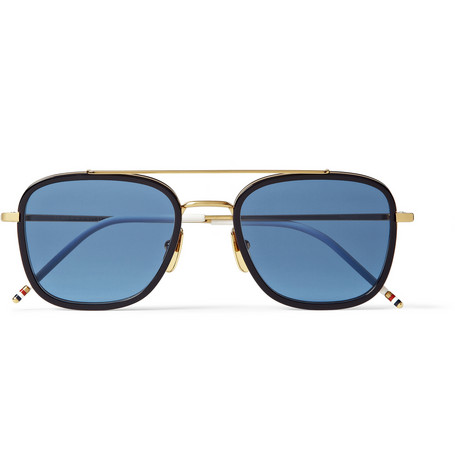 Thom Browne Gold And Acetate Square Frame Sunglasses Mr Porter
