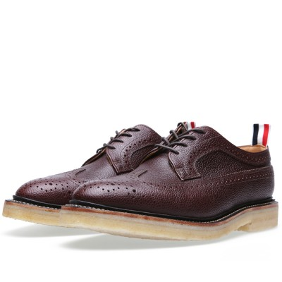 Thom Browne Classic Sole Wingtip Brogue Brown Pebble Leather