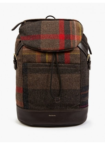 Paul Smith Men's Checked Wool And Leather Backpack Oki Ni