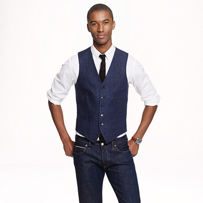 Ludlow Vest In Indigo Glen Plaid Italian Linen Vests J.Crew