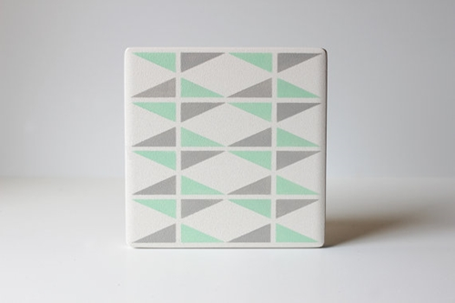 Mint And Grey Triangle Coasters Hand Painted White By Thecoastal