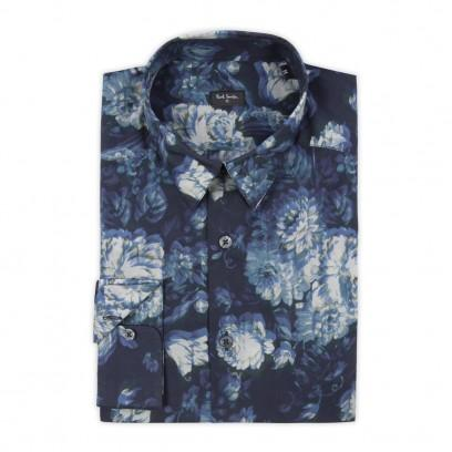 Paul Smith Men's Shirts Navy Shifted Floral Print Shirt