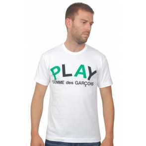 Comme Des Garcons Play T Shirt White Logo AZ T048 at Aphrodite Clothing Online UK