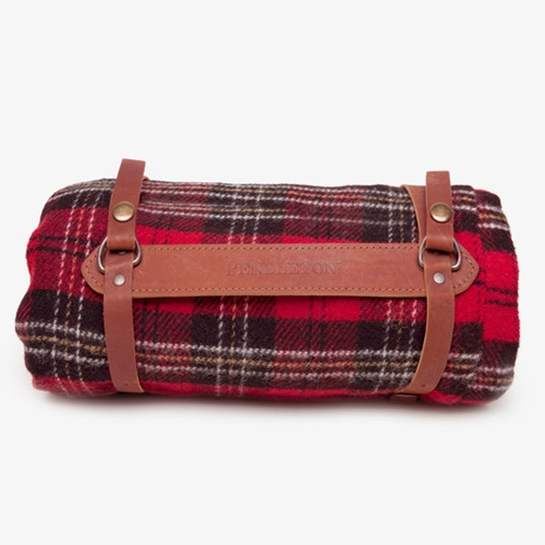 Pendleton Motor Robe Blanket With Leather Carrier Red Poketo