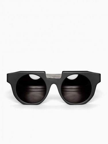 Round Frame Horn Sunglasses From The Kuboraum Berlin Collection In Matt Black