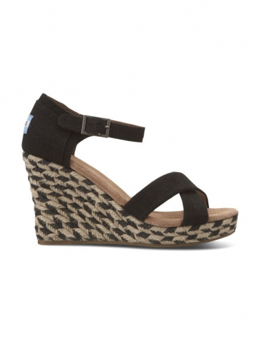 Shoes Toms Black Mixed Women's Rope Wedges