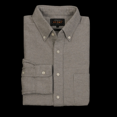 Unionmade Beams Flannel Button Down Shirt In Light Grey