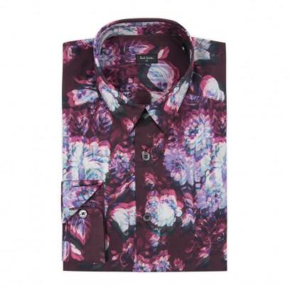 Paul Smith Men's Shirts Pink Shifted Floral Print Shirt