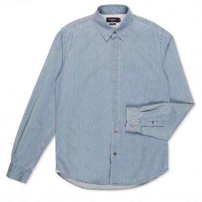 Paul Smith Shirts Tailored Fit Bleached Chambray Shirt