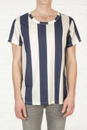 Buy Mens Acne Hardy Vertical Navy And White Stripe T Shirt Start London