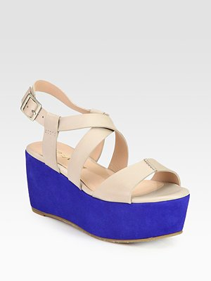 Pour La Victoire Noele Colorblocked Leather Suede Wedge Sandals Saks com