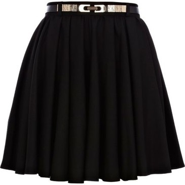Black Skater Belted Skirt From Riverisland.Com Fashiolista Love Your Style