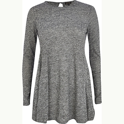 Grey Marl Swing Dress Long Sleeve T Shirts T Shirts Tanks Sweats Women
