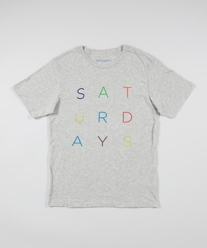 Saturdays NYC Colour Letters Tee Grey Superdenim