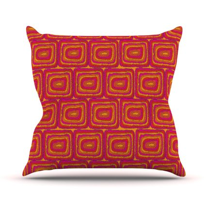 Amazon.Com Kess Inhouse Nandita Singh Bright Squares Red Pink Outdoor Throw Pillow 16 By 16 Inch Patio Lawn Garden