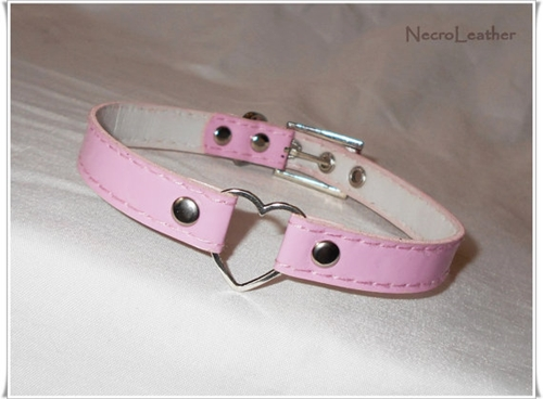 Pink Heart Ring Choker By Necroleather On Etsy