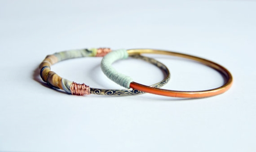Suede and fabric bangle set Resort summer by RedRhinoProductions