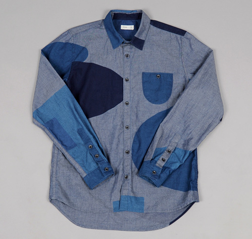 BLOCK PRINT SHIRT INDIGO CHAMBRAY HICKOREE S HARD GOODS