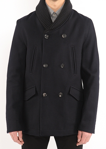 Blackbird Wings Horns Ribbed Collar Peacoat In Navy