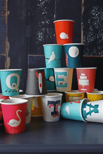 A to Z Mid Century Modern Paper Cups by Dustin Wallace